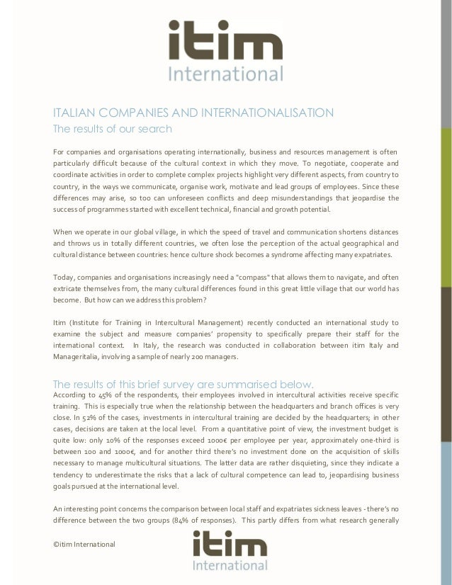 Italian companies and internationalisation