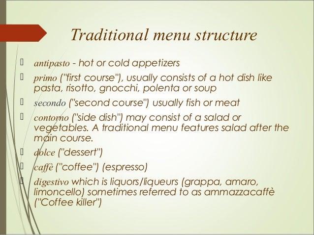 Northern Italian Food Menu