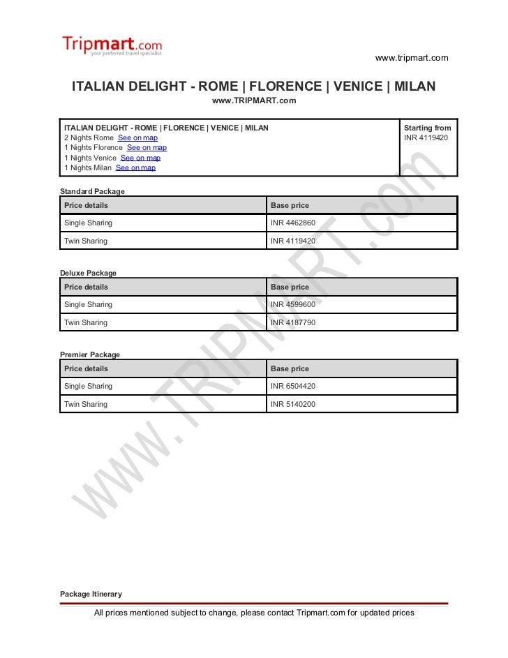 Italian delight   Rome - Florence - Venice - milan