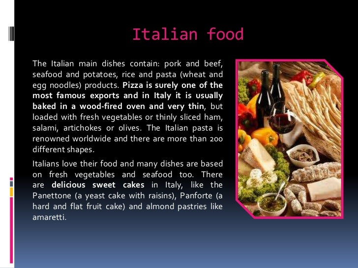 Italian food for American cuisine presentation
