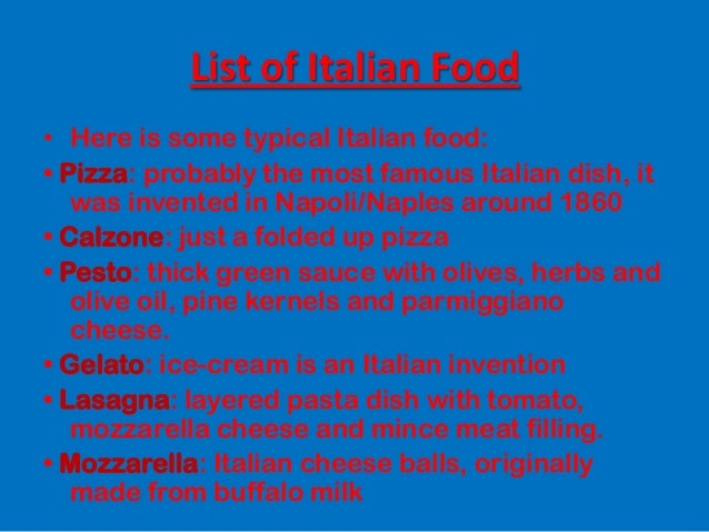 Italian food for Italian food list