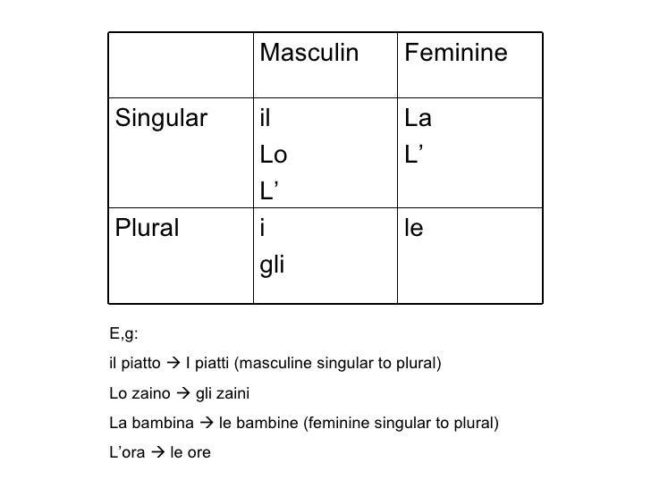 Italian Grammar: Singular & Plural Words 4