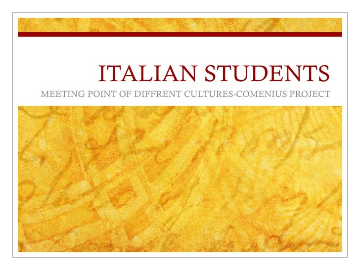 ITALIAN STUDENTS MEETING POINT OF DIFFRENT CULTURES-COMENIUS PROJECT