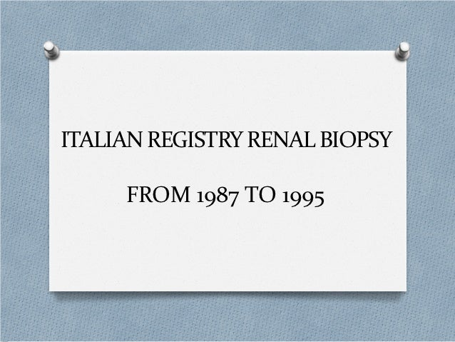 ITALIAN REGISTRY RENAL BIOPSY     FROM 1987 TO 1995