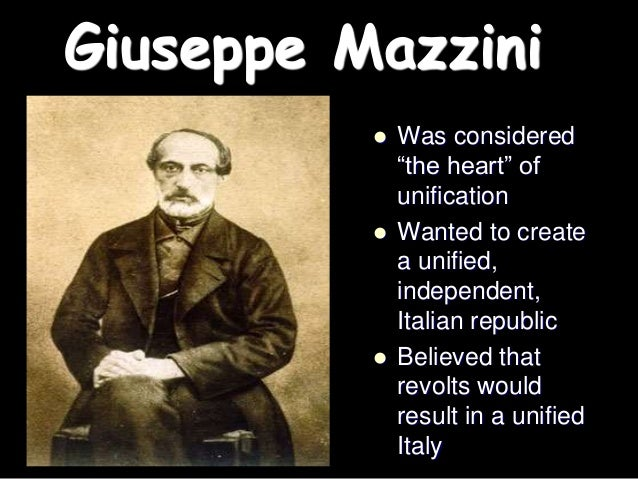 """the italian unification mazzini cavour and Free essay: giuseppe garibaldi """"the sword"""" of italian unification """"my goal,  which was  those men were cavour the brains, mazzini the soul, and garibaldi  the."""
