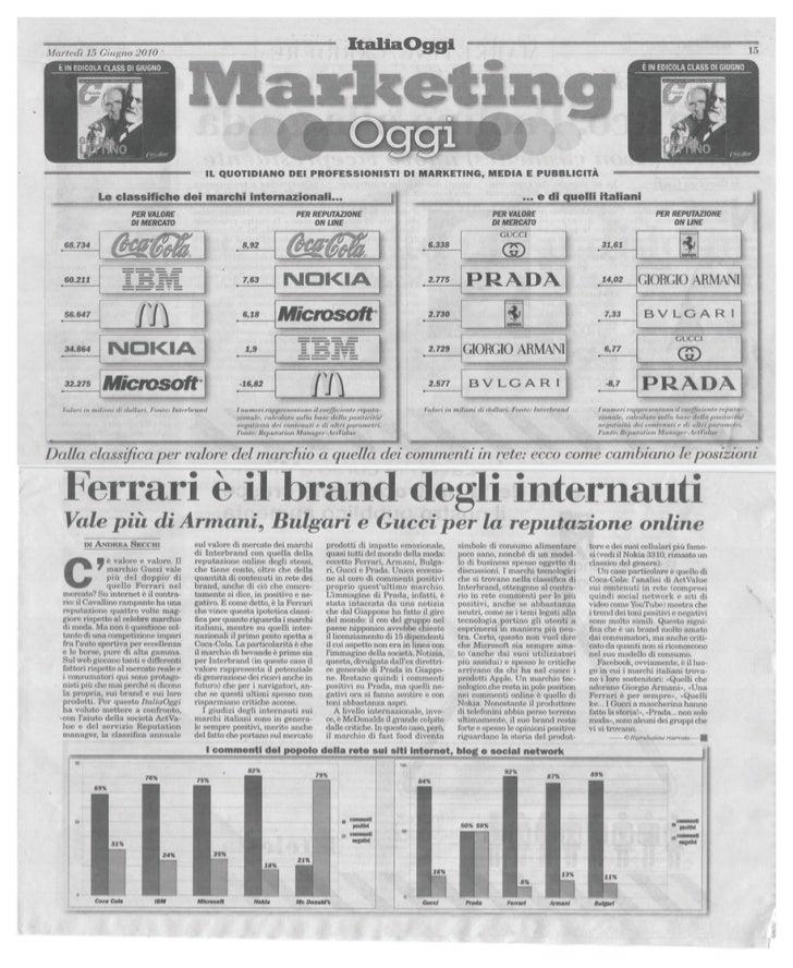 Best Brand 2010: reputazione online vs valore di mercato