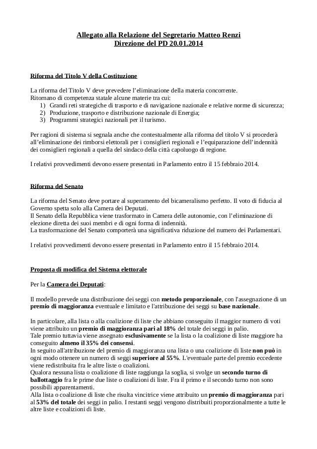 Allegato alla Relazione del Segretario Matteo Renzi Direzione del PD 20.01.2014  Riforma del Titolo V della Costituzione L...