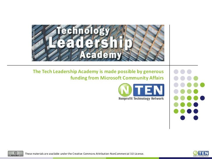 The Tech Leadership Academy is made possible by generous                      funding from Microsoft Community AffairsThes...