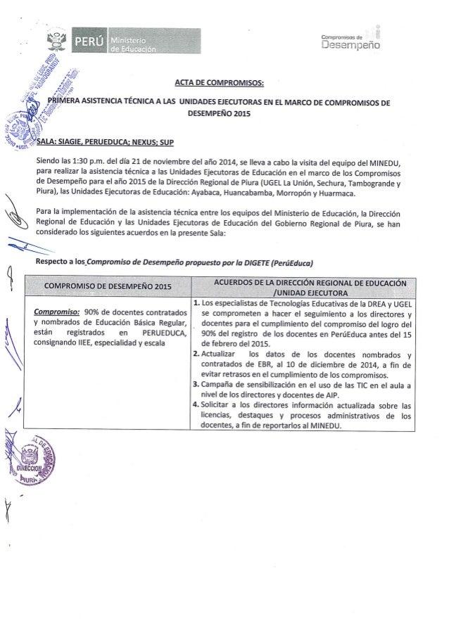 Compromisos de  ¿'Eesempeño           ACTA DE COMPROMISOS:  ¡o C   ASISTENCIA TECNICA A LAS UNIDADES EJECUTORAS EN EL MARC...