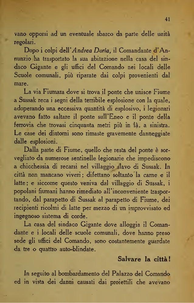 48 Messa fuori causa la persone di Gabriele -d'Annunzio, nella notte dal 31 al P gennaio, tornati a Fiume dal sesto colloq...