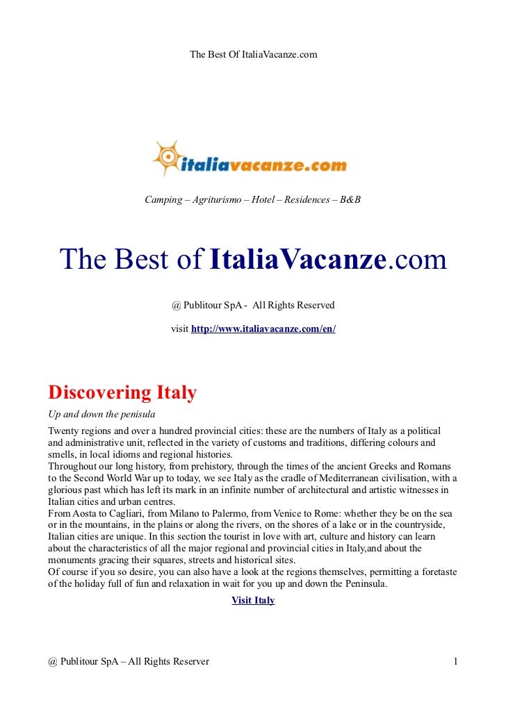 The Best Of ItaliaVacanze.com                        Camping – Agriturismo – Hotel – Residences – B&B  The Best of ItaliaV...