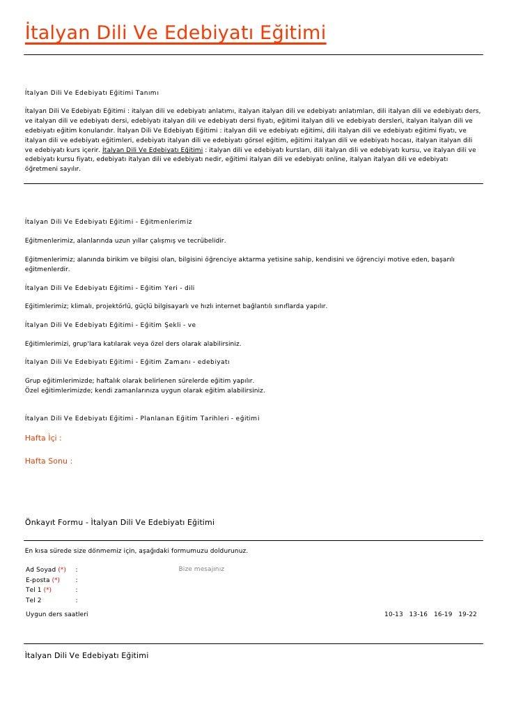 İtalyan Dili Ve Edebiyatı Eğitimiİtalyan Dili Ve Edebiyatı Eğitimi Tanımıİtalyan Dili Ve Edebiyatı Eğitimi : italyan dili ...