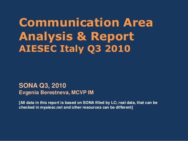 Communication Area Analysis & Report AIESEC Italy Q3 2010 SONA Q3, 2010 Evgenia Berestneva, MCVP IM [All data in this repo...