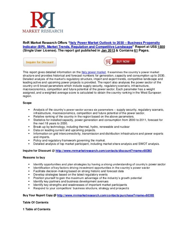 """RnR Market Research Offers """"Italy Power Market Outlook to 2030 – Business PropensityIndicator (BPI), Market Trends, Regula..."""