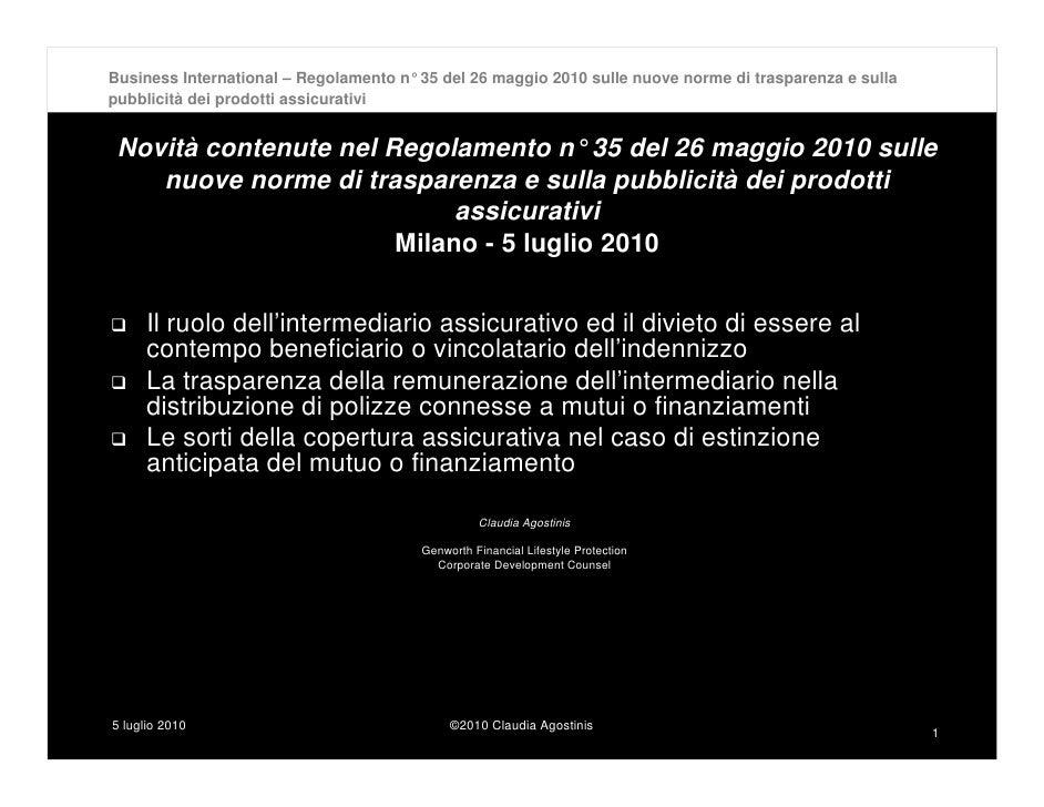 Business International – Regolamento n°35 del 26 maggio 2010 sulle nuove norme di trasparenza e sulla pubblicità dei prodo...