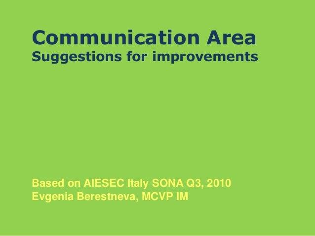 Communication Area Suggestions for improvements Based on AIESEC Italy SONA Q3, 2010 Evgenia Berestneva, MCVP IM