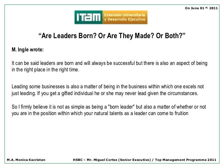leaders are born not created
