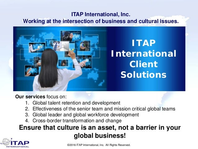 ©2016 ITAP International, Inc. All Rights Reserved. ITAP International Client Solutions Our services focus on: 1. Global t...
