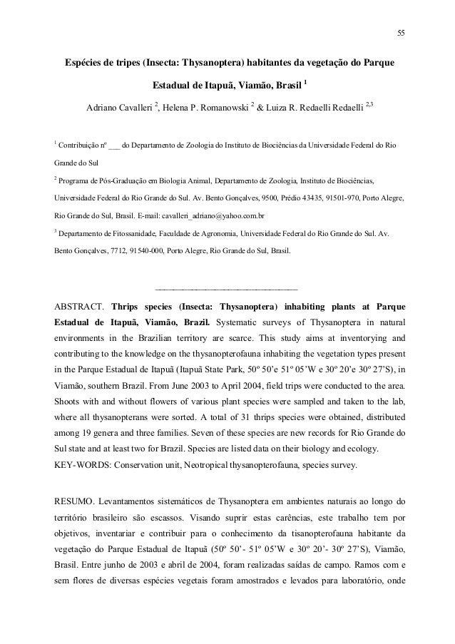 55  Espécies de tripes (Insecta: Thysanoptera) habitantes da vegetação do Parque Estadual de Itapuã, Viamão, Brasil 1 Adri...