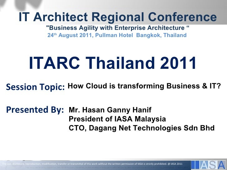 """IT Architect Regional Conference                                        """"Business Agility with Enterprise Architecture """"  ..."""