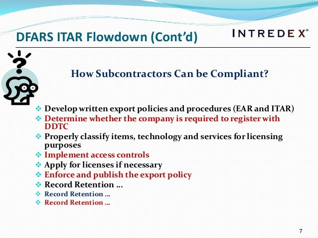 ITAR Pliance And Interactions With Customers Suppliers