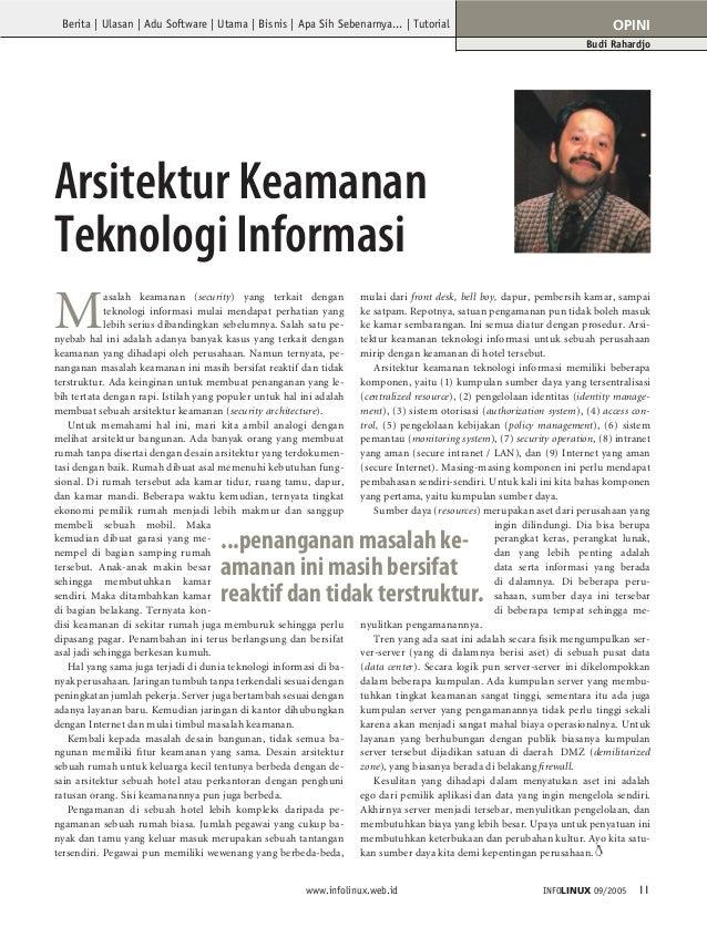 Berita | Ulasan | Adu Software | Utama | Bisnis | Apa Sih Sebenarnya... | Tutorial  OPINI Budi Rahardjo  Arsitektur Keaman...