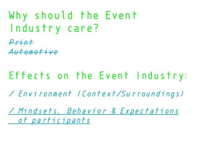 Effects on the Event Industry: / Environment (Context/Surroundings) / Mindsets, Behavior & Expectations of participants Wh...