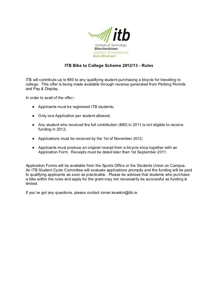ITB Bike to College Scheme 2012/13 - RulesITB will contribute up to €80 to any qualifying student purchasing a bicycle for...
