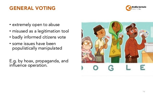 GENERAL VOTING • extremely open to abuse • misused as a legitimation tool • badly informed citizens vote • some issues hav...