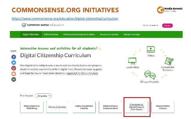 COMMONSENSE.ORG INITIATIVES 37 https://www.commonsense.org/education/digital-citizenship/curriculum
