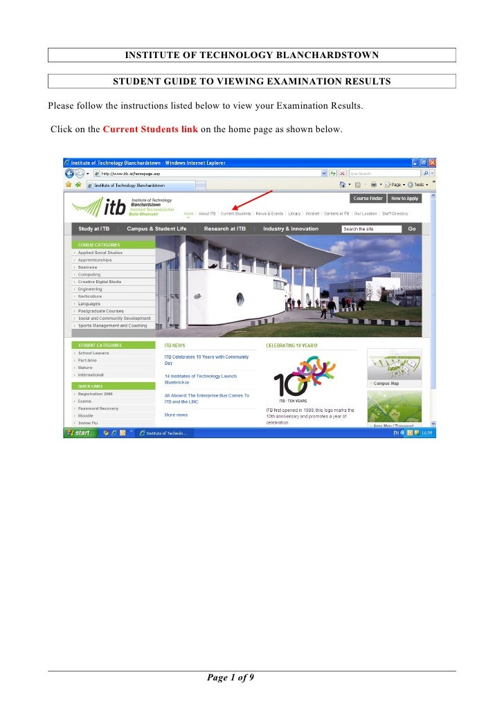 INSTITUTE OF TECHNOLOGY BLANCHARDSTOWN               STUDENT GUIDE TO VIEWING EXAMINATION RESULTSPlease follow the instruc...