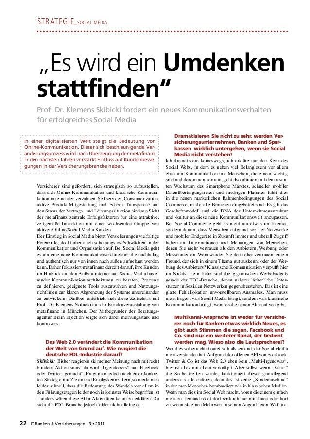 """Strategie _Social Media       """"Es wird ein Umdenken       stattfinden""""       Prof. Dr. Klemens Skibicki fordert ein neues ..."""