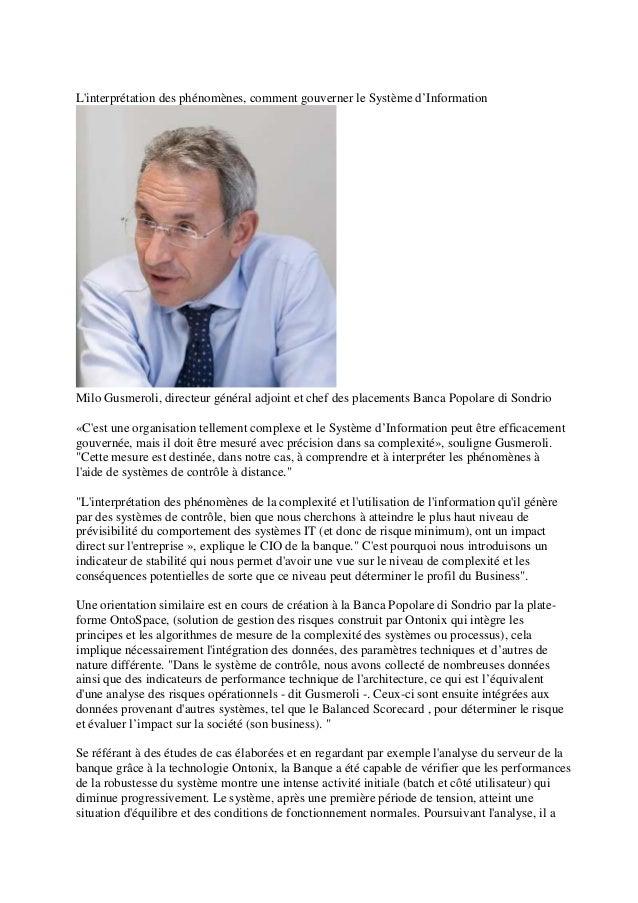 Linterprétation des phénomènes, comment gouverner le Système d'InformationMilo Gusmeroli, directeur général adjoint et che...