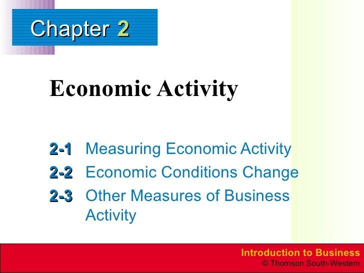 Economic Activity 2-1 Measuring Economic Activity 2-2 Economic Conditions Change 2-3 Other Measures of Business Activity 2