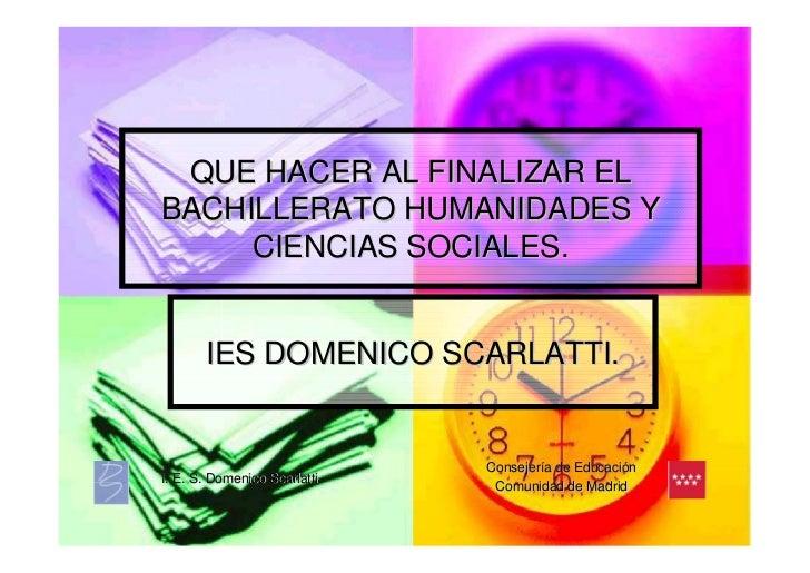 Alternativas Al Finalizar El Bachillerato De Humanidades Y