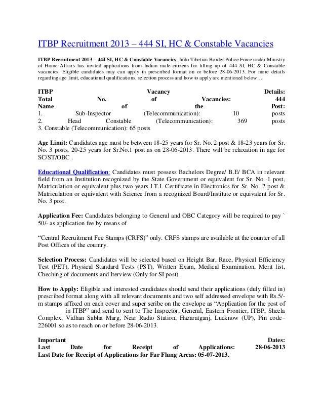 ITBP Recruitment 2013 – 444 SI, HC & Constable VacanciesITBP Recruitment 2013 – 444 SI, HC & Constable Vacancies: Indo Tib...