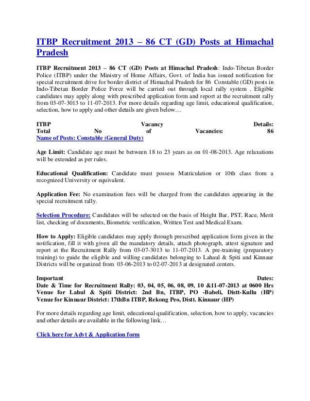 ITBP Recruitment 2013 – 86 CT (GD) Posts at HimachalPradeshITBP Recruitment 2013 – 86 CT (GD) Posts at Himachal Pradesh: I...