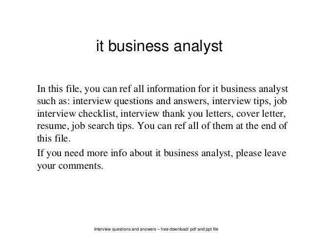 it business analyst