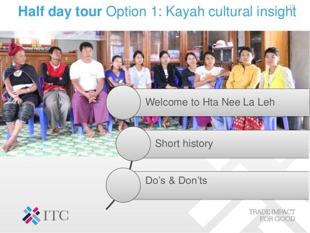 Half day tour Option 1: Kayah cultural insight 13 Welcome to Hta Nee La Leh Short history Do's & Don'ts
