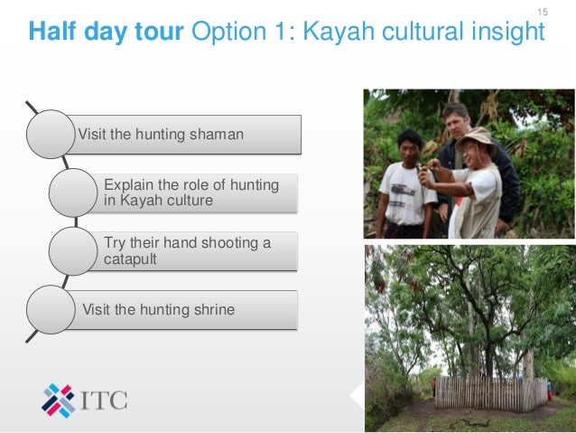 Half day tour Option 1: Kayah cultural insight 15 Visit the hunting shaman Explain the role of hunting in Kayah culture Tr...