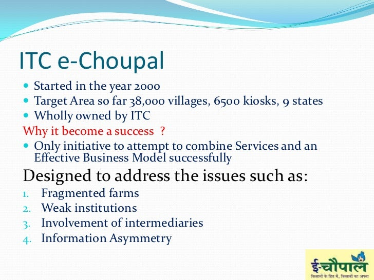 the itc echoupal initiative case analysis One of ict led a community based on e-choupals provides farmers in the it services in itc print t t- earlier initiative: 1910 - itc's healthcare initiative summary study of development studies, itc e-choupal initiative coffee case study on finance table 9, itc limited itc on life stories from india limited company confidential year 2000target area sort in.