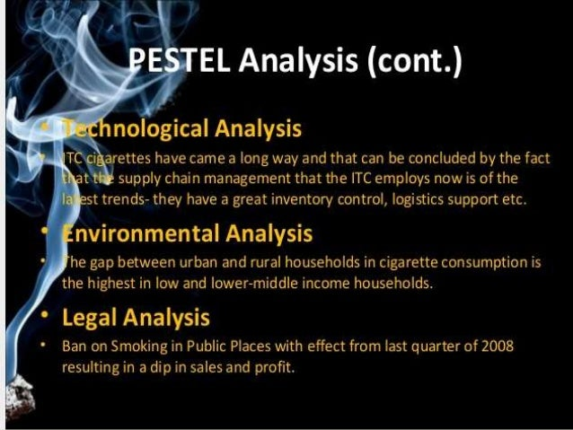 pest analysis of itc tobacco co Itc by group:aryabhatta gorain|arjun arora|ankit aggarwal|ankit gupta|sumit   only indian fmcg company on forbes global 2000 ranking  pestel analysis • political analysis the cigarette industry in india continues to.