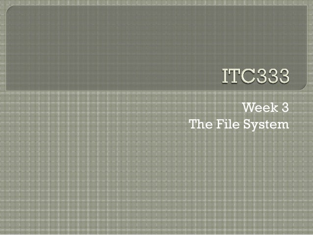 Week 3The File System