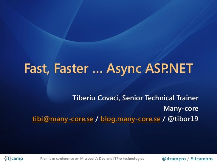 Fast, Faster … Async ASP.NET           Tiberiu Covaci, Senior Technical Trainer                                       Many...