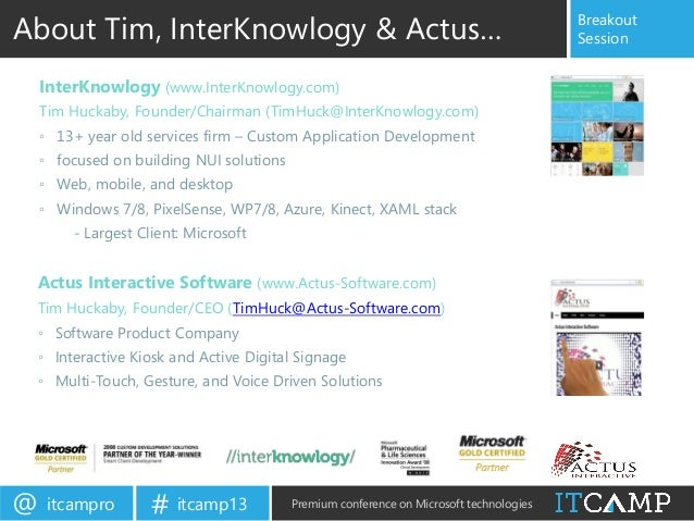 ITCamp 2013 - Tim Huckaby - Kinect for Windows - Designing