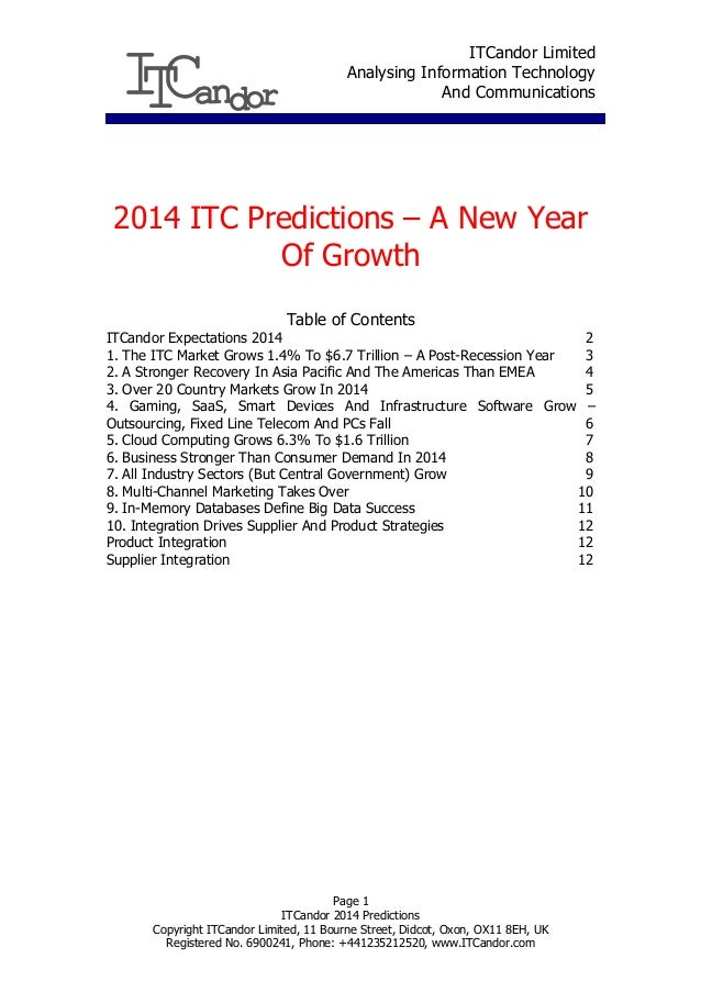 ITCandor Limited Analysing Information Technology And Communications  2014 ITC Predictions – A New Year Of Growth Table of...