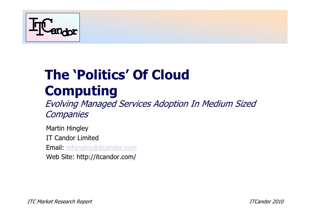 The 'Politics' Of Cloud        Computing        Evolving Managed Services Adoption In Medium Sized        Companies       ...