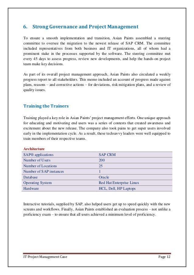 IT Project Management Case Page 12 6. Strong Governance and Project Management To ensure a smooth implementation and trans...