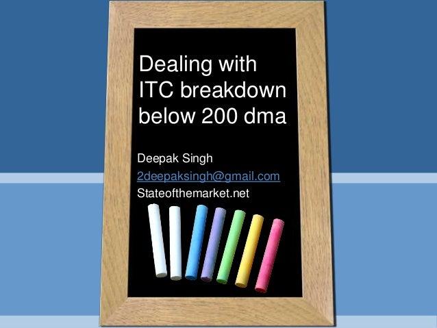 Deepak Singh 2deepaksingh@gmail.com Stateofthemarket.net Dealing with ITC breakdown below 200 dma