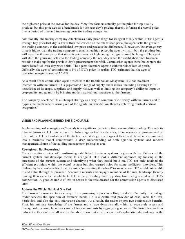 The e-Choupal Initiative Case Study Memo
